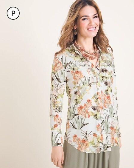 b767d26cbce Petite Silky Soft Desert Bouquet Half-Placket Shirt
