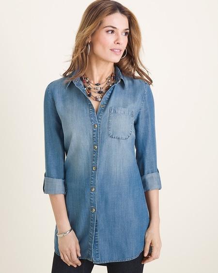 cf5587eef46 Long Denim Shirt