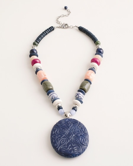 Short Beaded Multi-Colored Pendant Necklace