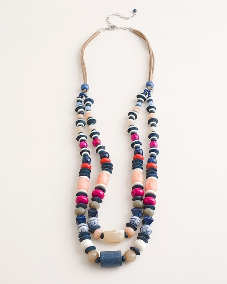 Beaded Multi-Colored Double-Strand Necklace