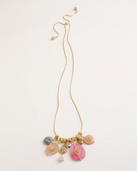 50cc04e558b2d7 Convertible Warm-Hued Gold-Tone Charm Necklace