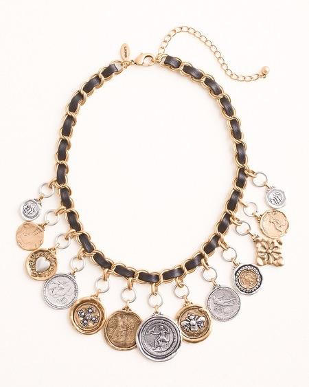 Textured Mixed-Metal Coin Bib Necklace
