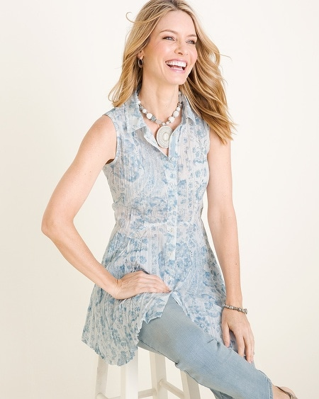 e04682df85d CINO for Chico's Blue Printed Sleeveless Crinkle Tunic