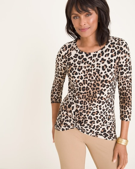 35ae33c301f88 Animal-Print Twist-Front Top