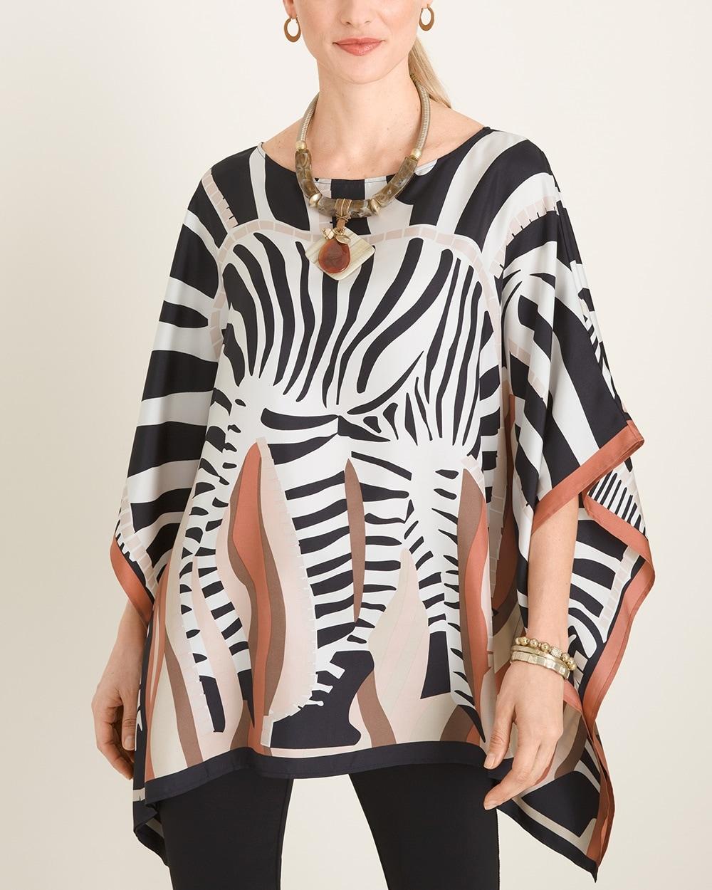 Zebra Poncho One Size