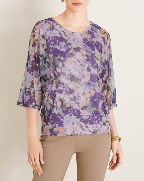 Abstract Floral Print Mesh Top