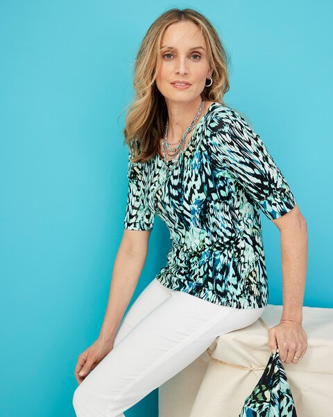 L CHICO/'S $96 NEW TRAVELER BLACK LACE TOP SIZE  2