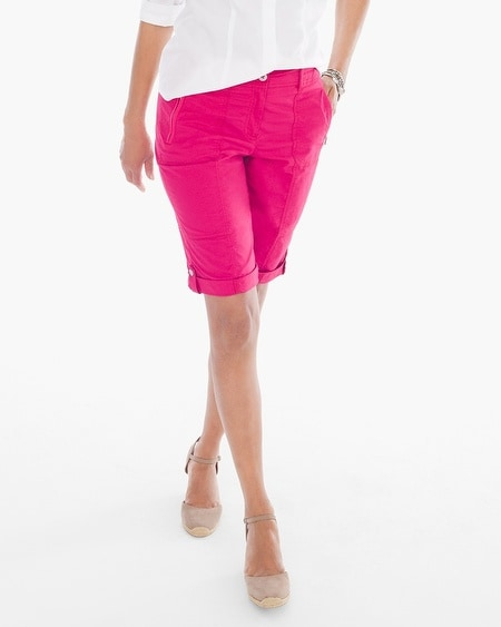 Casual Roll-Cuff Shorts in Raspberry - 13 Inch Inseam