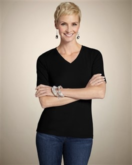 Black Cotton Rib Gianna Tee