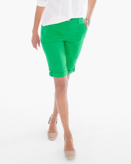 Casual Roll-Cuff Shorts in Cilantro - 13 Inch Inseam