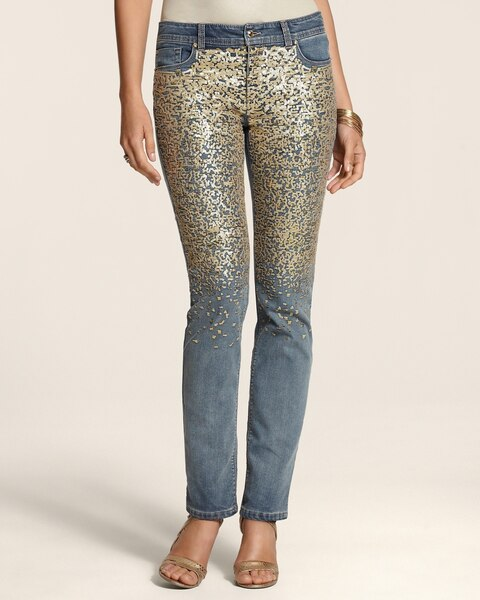 7b60be011ffdc5 Return to thumbnail image selection Platinum Denim Gold Sequin Slim-Leg  Jeans - RG video preview image, click to