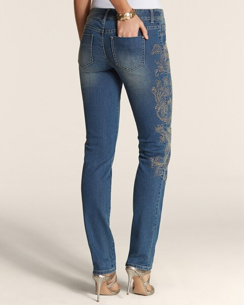 Platinum Denim Gold Embroidered Jeans