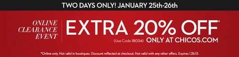 Extra 20% Off - Online Clearance Event!