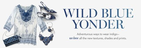 Wild Blue Yonder | Adventurous ways to wear indigo-- we love all th new texture sahdes, and prints.