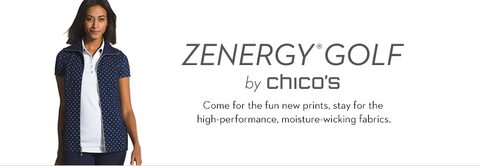 Zenergy® Golf by Chico's | Come for the fun new prints, stay for the high-performance, moisture-wicking fabrics.