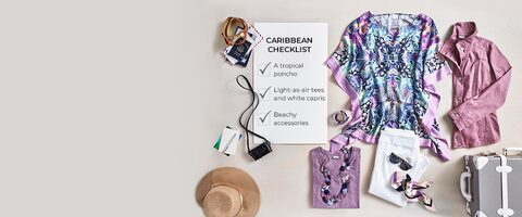 Caribbean Checklist. Check - A tropical poncho. Check - Light-as-air tees and white capris. Check - Beachy accessories.