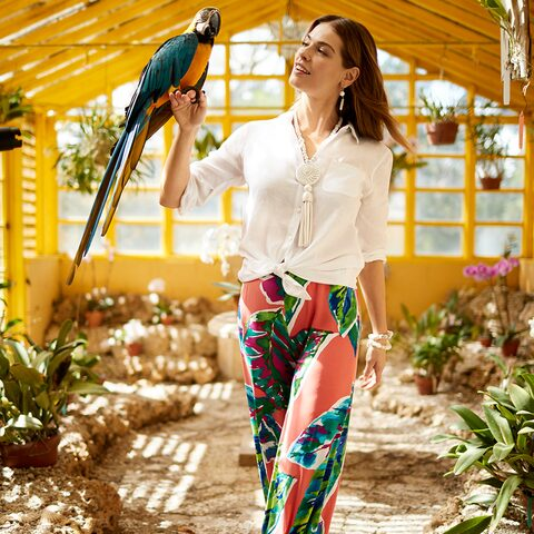 Lady wearing tropical-print palazzo pants